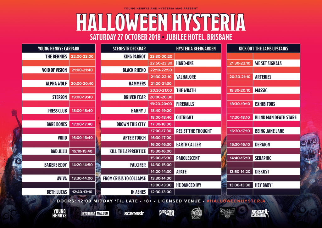 Halloween Hysteria 2018 Set Times