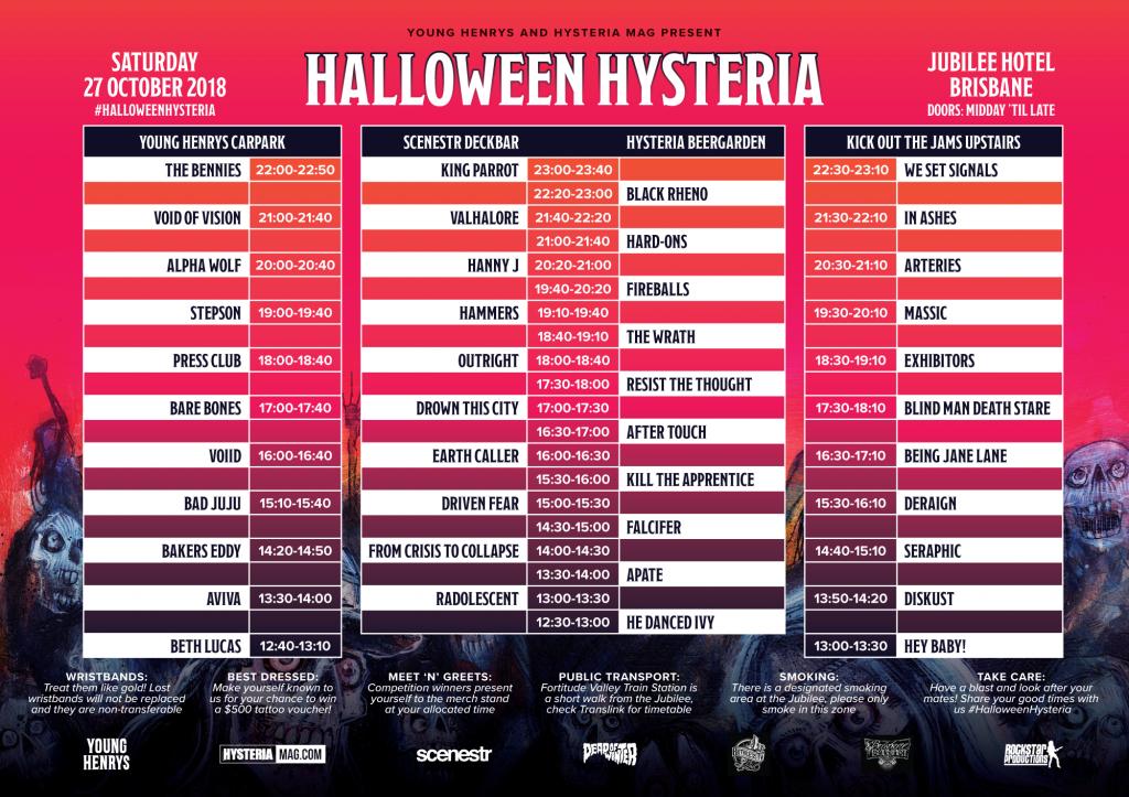 Halloween Hysteria 2018 Set Times