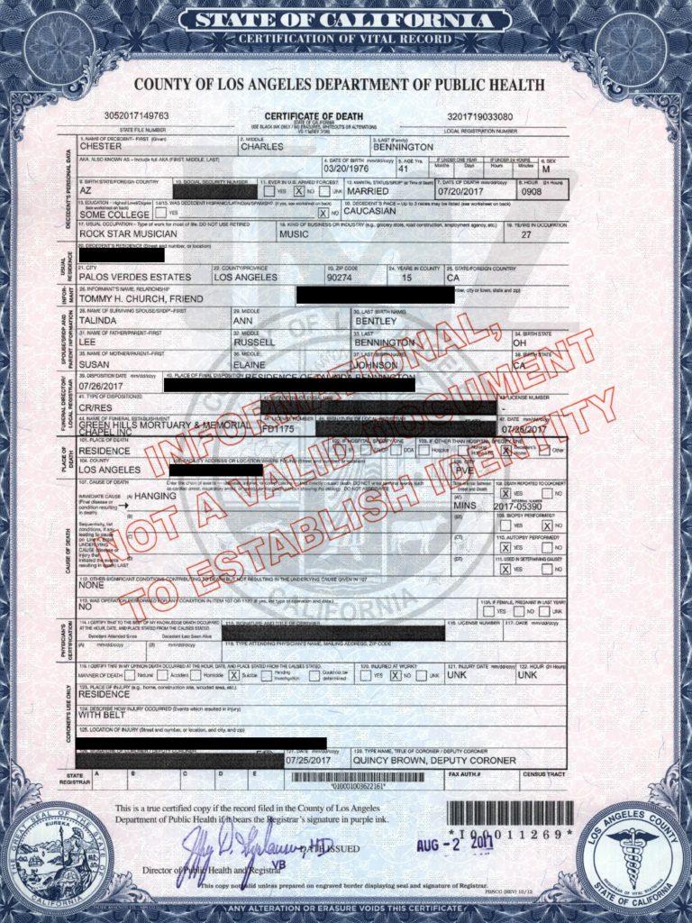 chester bennington death certificate