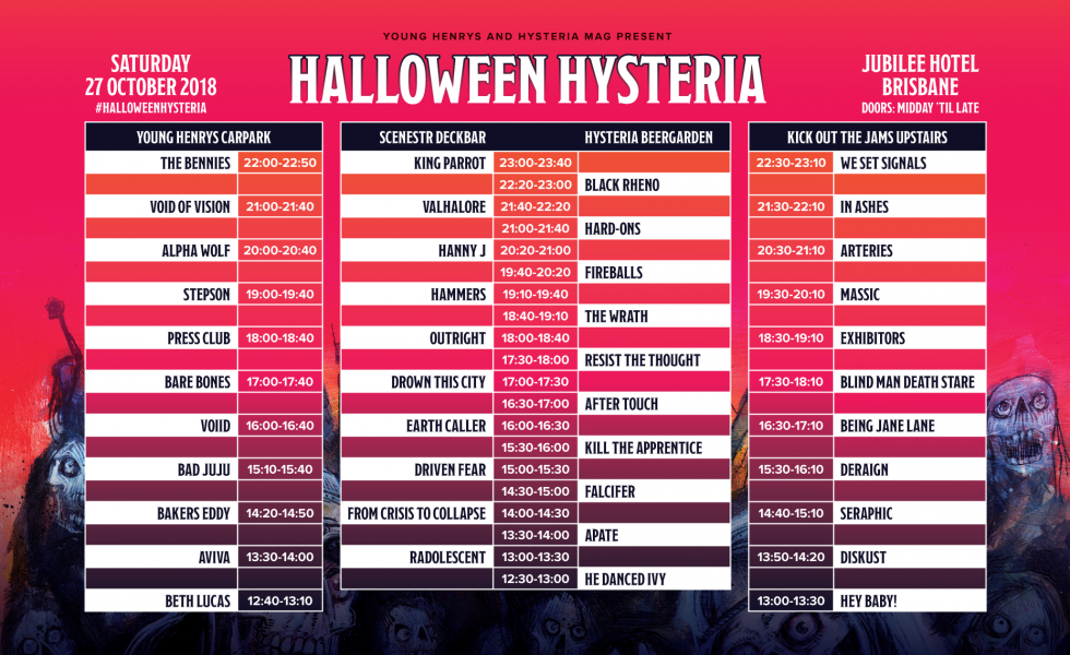 Halloween Hysteria Set Times